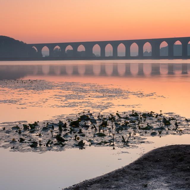 """Cullinworth at dawn"" stock image"