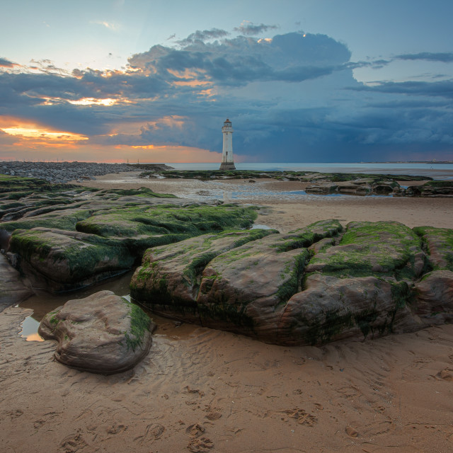 """New Brighton Lighthouse during sunset"" stock image"