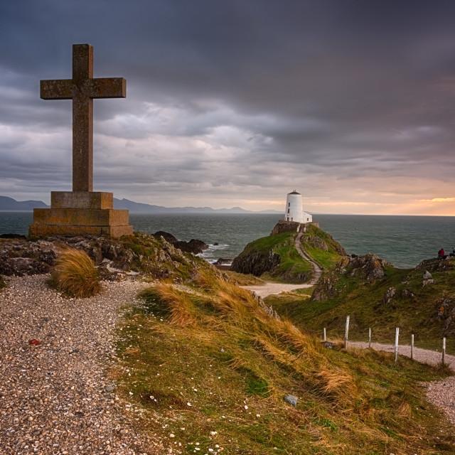 """Twr Mawr Lighthouse at sunset"" stock image"