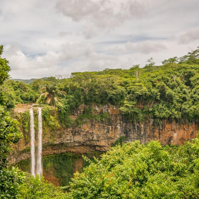 """Chamarel Waterfall"" stock image"