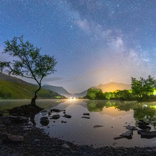 """""""Milky Way over the Llyn Padarn"""" stock image"""
