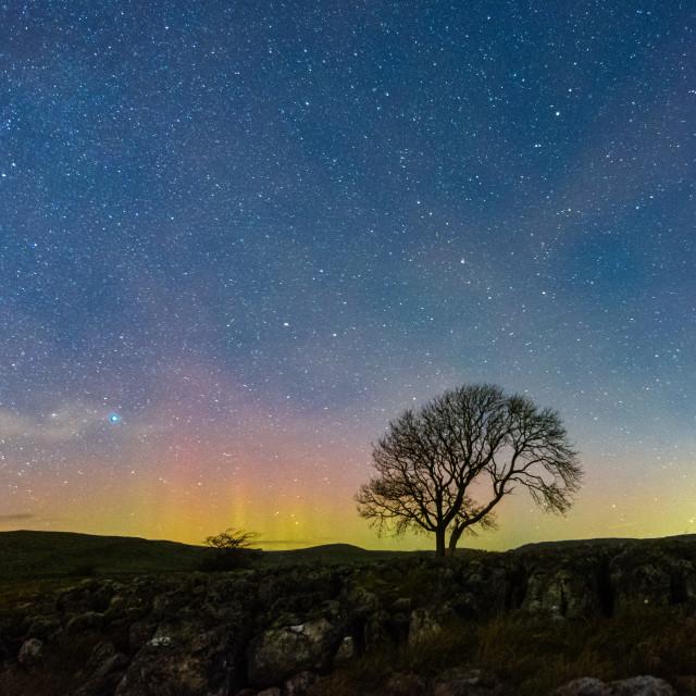 """Aurora Borealis and comet 46p/Wirtanen in Malham"" stock image"