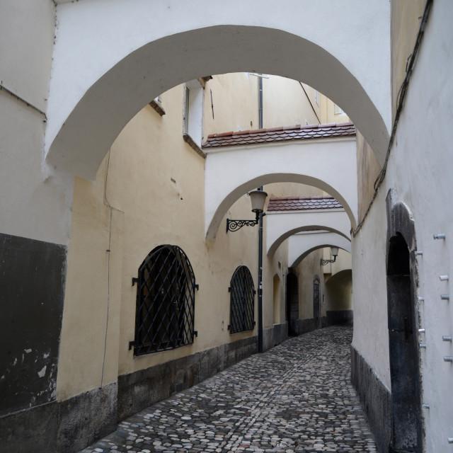 """Archway in the historical center of Ljubljana, Slovenia"" stock image"