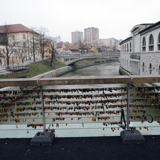 """""""Love Locks Butcher Bridge Ljubljana - Slovenia"""" stock image"""
