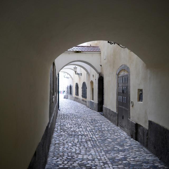 """Ljubljana Narrow cobblestone alley Slovenia"" stock image"