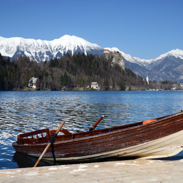 """""""Rowing boat at Lake Bled Slovenia"""" stock image"""
