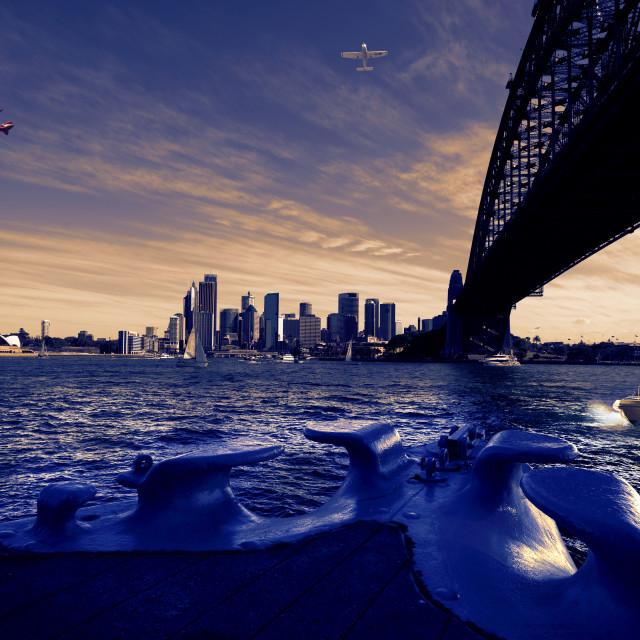 """Under the Harbour Bridge - Sydney"" stock image"