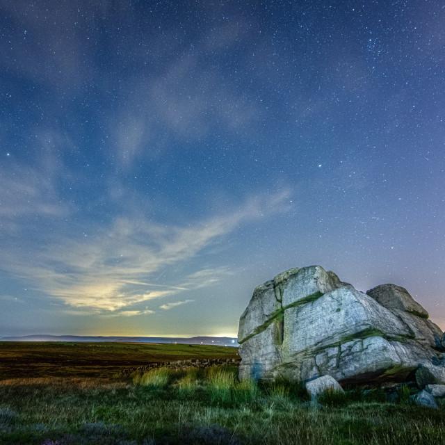 """Hitching Stone at night"" stock image"