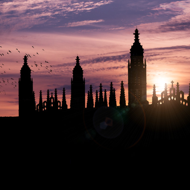 """""""A Silhouette Sunset of Cambridge University Library and King's College Chapel."""" stock image"""