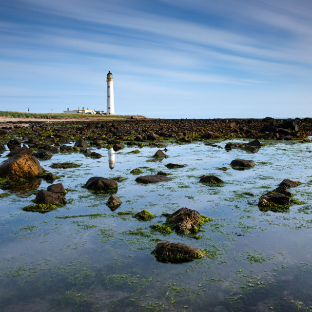 """Barns Ness Lighthouse Reflections"" stock image"