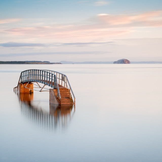 """Sunrise on a Bridge to Nowhere"" stock image"