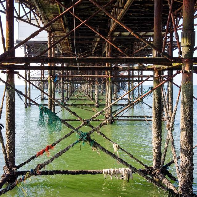 """""""Below the pier"""" stock image"""