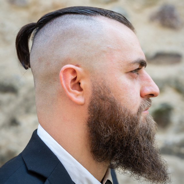 """""""Profile portrait of a man with a long beard"""" stock image"""