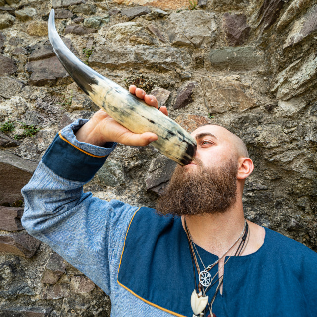 """""""Portrait of a young warrior drinking from a Viking horn"""" stock image"""