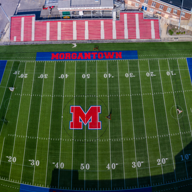 """""""Aerial drone panorama of the football field of Morgantown High School in West..."""" stock image"""