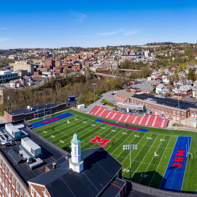 """""""Aerial drone panorama of the downtown area of Morgantown, West Virginia"""" stock image"""
