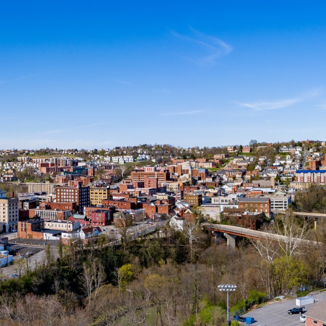 """""""Aerial drone panorama the downtown area of Morgantown, West Virginia"""" stock image"""