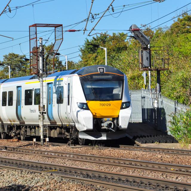 """""""Class 700 EMU at Hitchin"""" stock image"""