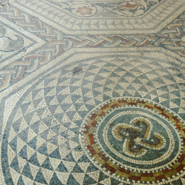 """""""Floor Mosaic, Jewry Wall Museum"""" stock image"""