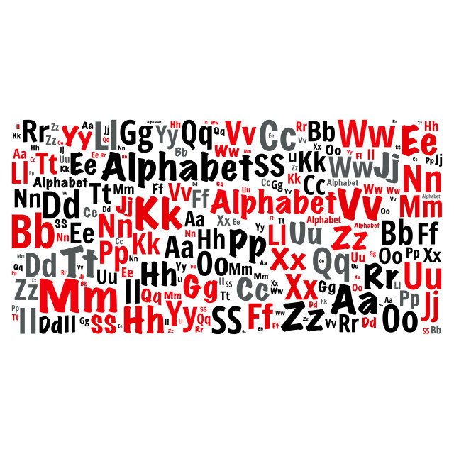 """""""Illustration of a word cloud with words representing the alphabe"""" stock image"""