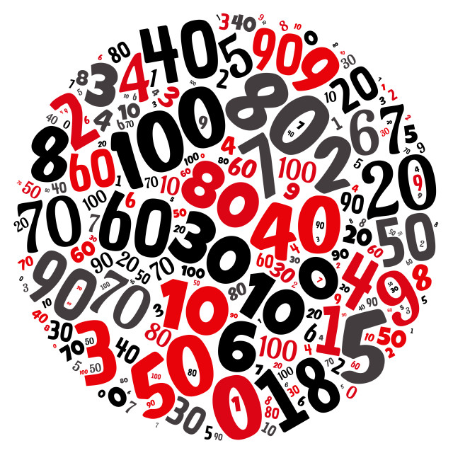 """""""Illustration of a word cloud with words representing numbers"""" stock image"""
