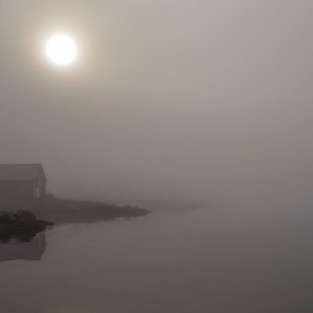 """""""Boathouse in the mist"""" stock image"""