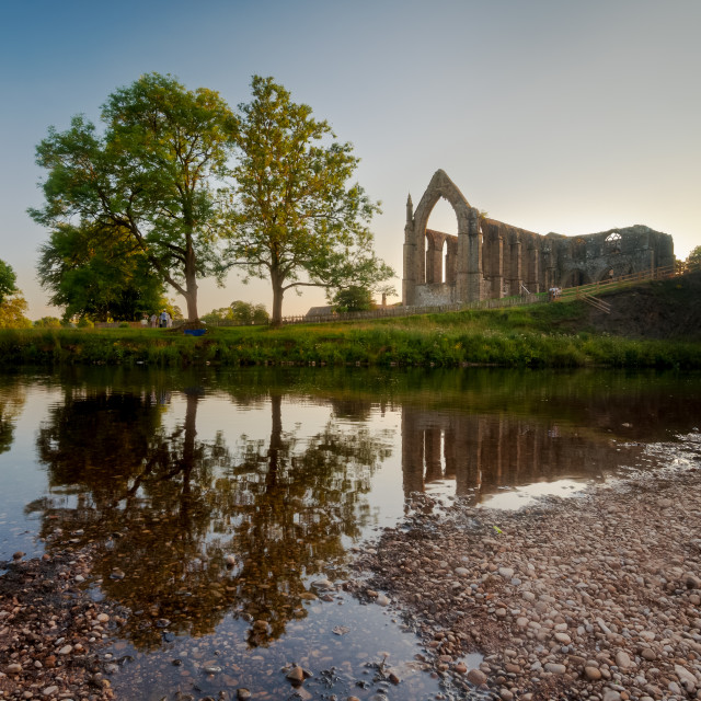 """Bolton Priory at sunset"" stock image"