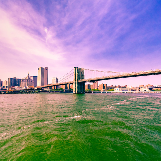 """Brooklyn Bridge from the East River"" stock image"