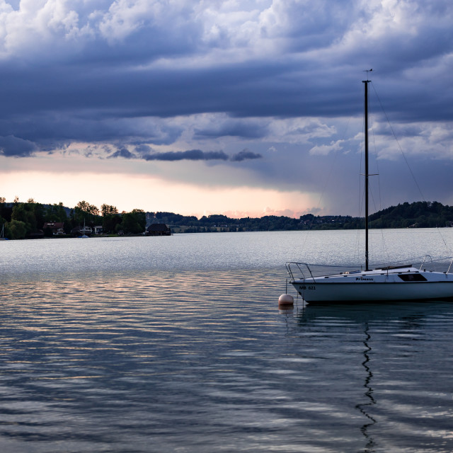 """cumulus storm clouds with lake"" stock image"