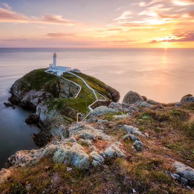 """South Stack during sunset"" stock image"