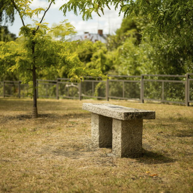 """A stone chair in the park"" stock image"