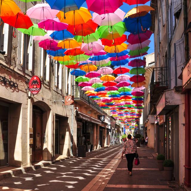 """Colourful Umbrellas, Carcassonne"" stock image"