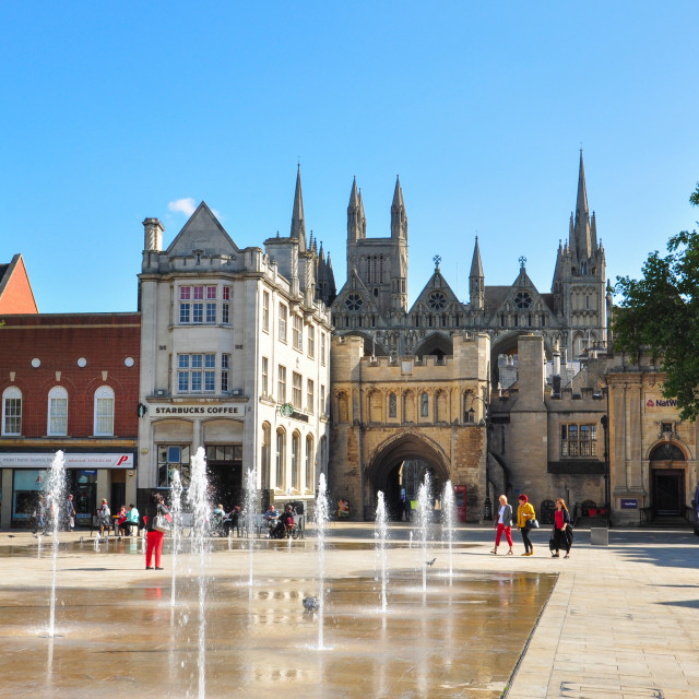 """Cathedral Square, Peterborough"" stock image"