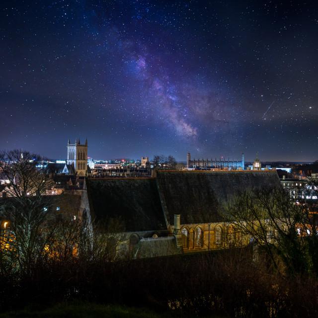 """Milky Way Over King's College, University of Cambridge UK."" stock image"