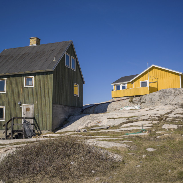 """Two colourful houses, Ilulissat"" stock image"