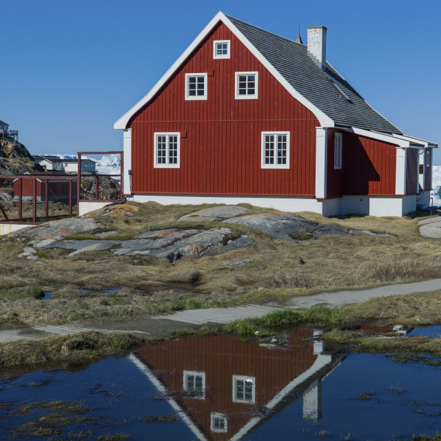"""""""The house and the reflection, Ilulissat"""" stock image"""