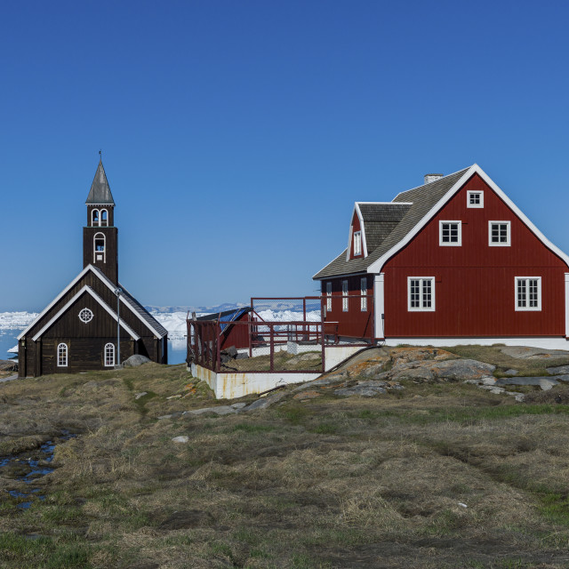 """""""The church and the house in Ilulissat"""" stock image"""