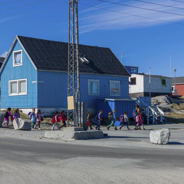 """""""Students walking on the street, Ilulissat"""" stock image"""