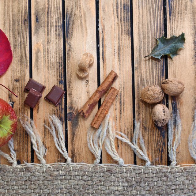 """""""and spices on a wooden flour next to wool carpet"""" stock image"""