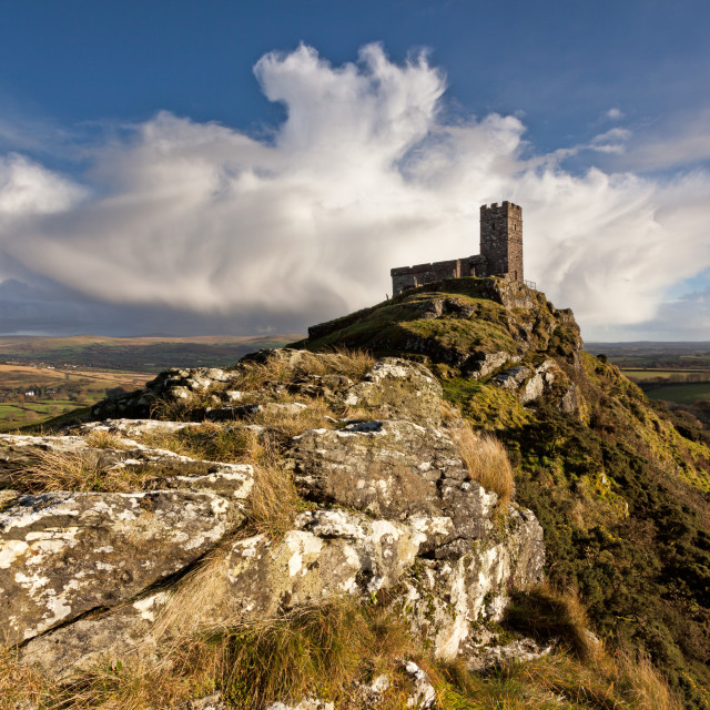 """""""Brentor Church on a showery afternoon"""" stock image"""