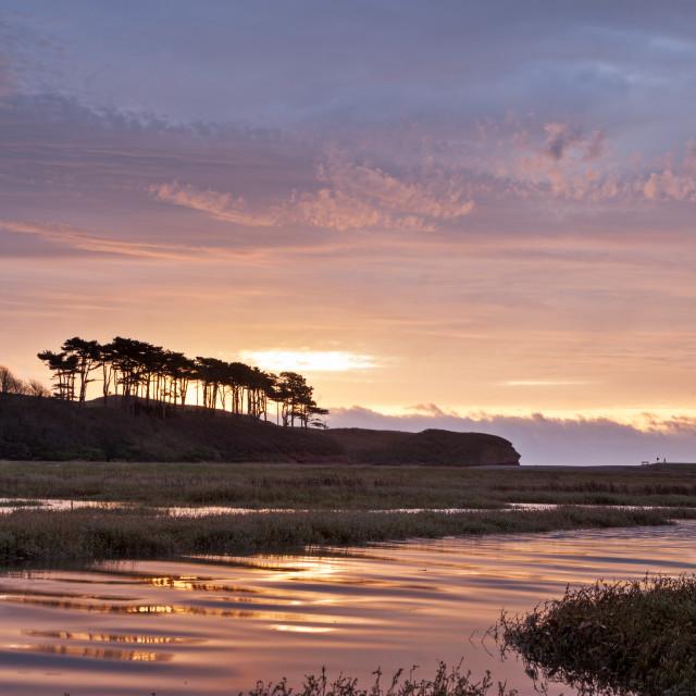 """Sunrise at Budleigh Salterton"" stock image"