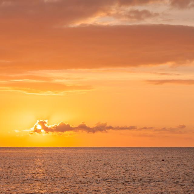 """""""Sunrise at Ladram Bay"""" stock image"""