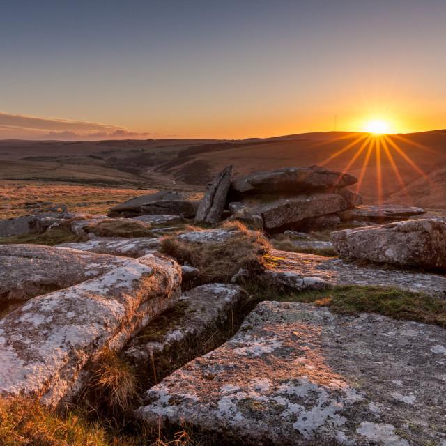 """Littaford Tor Sunset"" stock image"