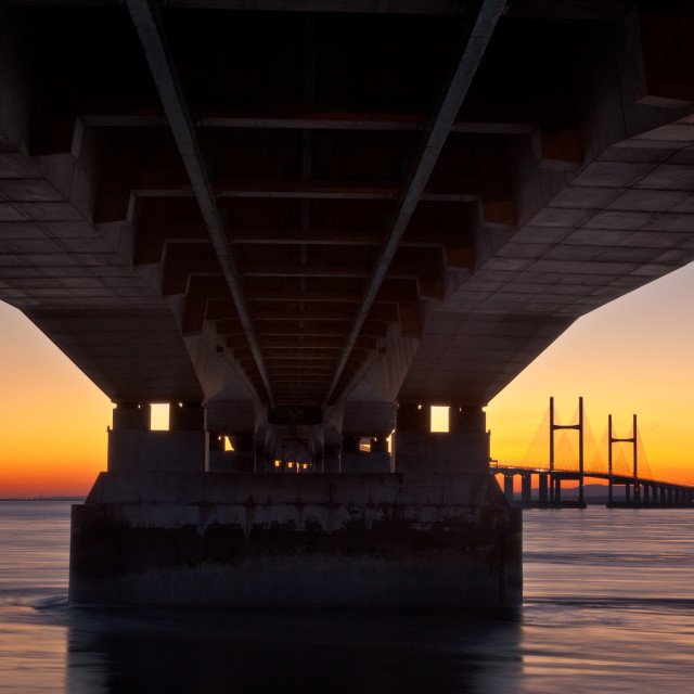 """""""Under The Second Severn Crossing"""" stock image"""