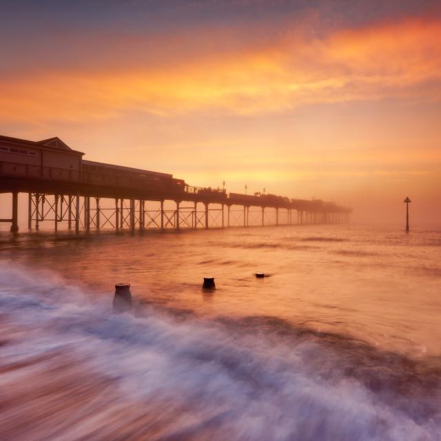 """Teignmouth Pier at Sunrise"" stock image"