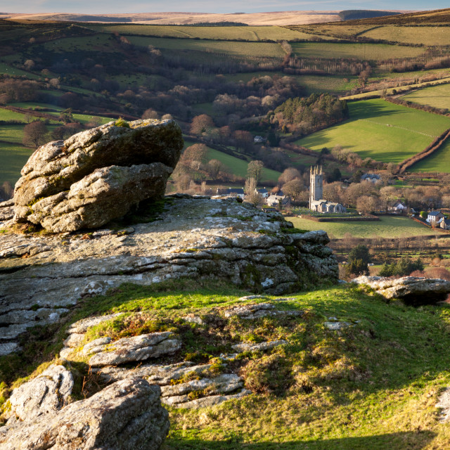 """""""Widecombe from Tunhill Rocks"""" stock image"""