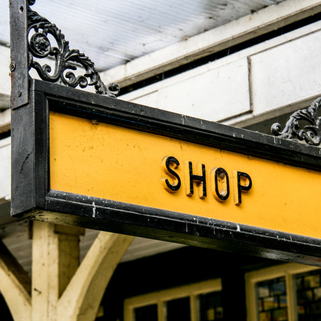 """""""Embsay and Bolton Abbey Steam Railway, Platform Sign, Shop."""" stock image"""