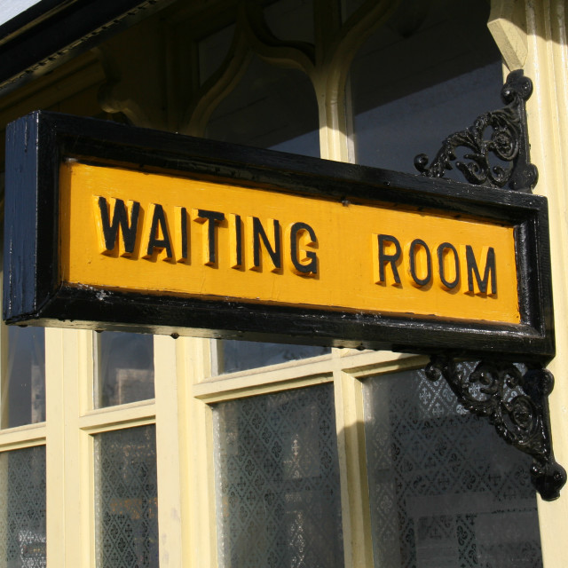 """Embsay and Bolton Abbey Steam Railway, Platform Sign, Waiting Room."" stock image"
