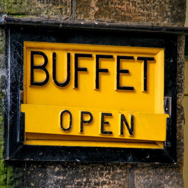 """""""Embsay and Bolton Abbey Steam Railway, Platform Sign, Shop. Buffet Open."""" stock image"""