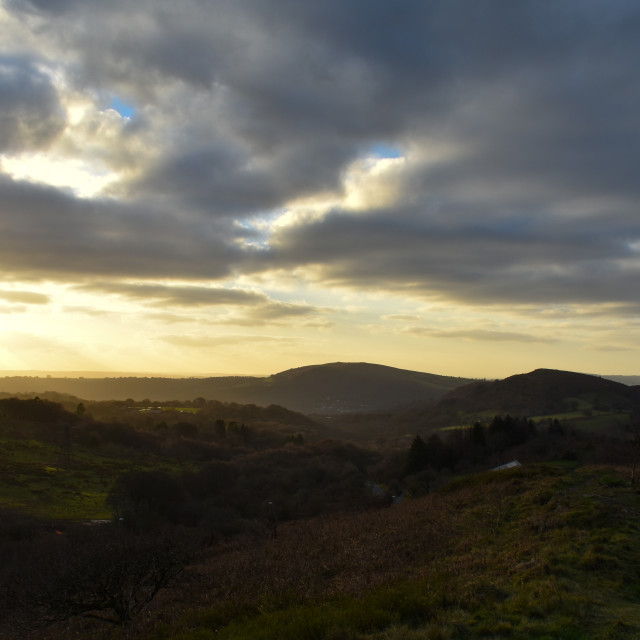 """""""Evening Light over Caerphilly Mountain"""" stock image"""